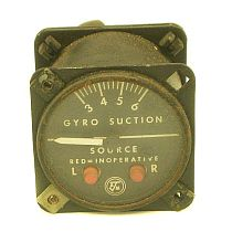 Cessna 310, 340, 401, 402, 414 Gyro Suction Gauge